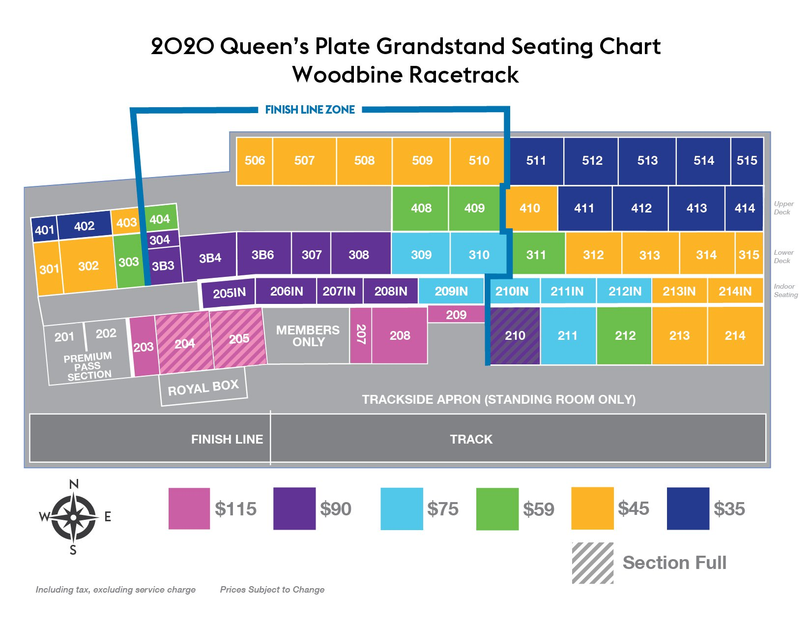 2020 Queen's Plate Grandstand Ticket Seating Chart
