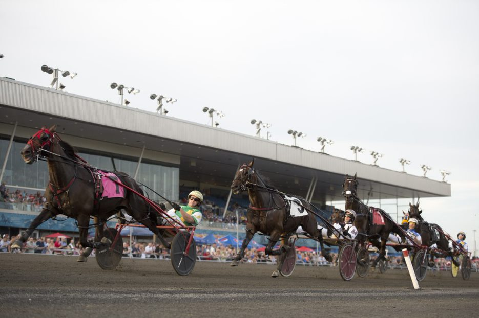 Standardbred horses racing at Woodbine Mohawk Park racetrack