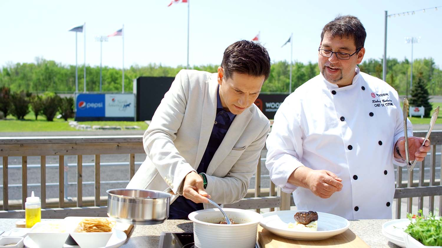 Rick Campanelli, Canadian television personality along-with Chef Rob at Mohawk Harvest Kitchen at Woodbine Mohawk Park