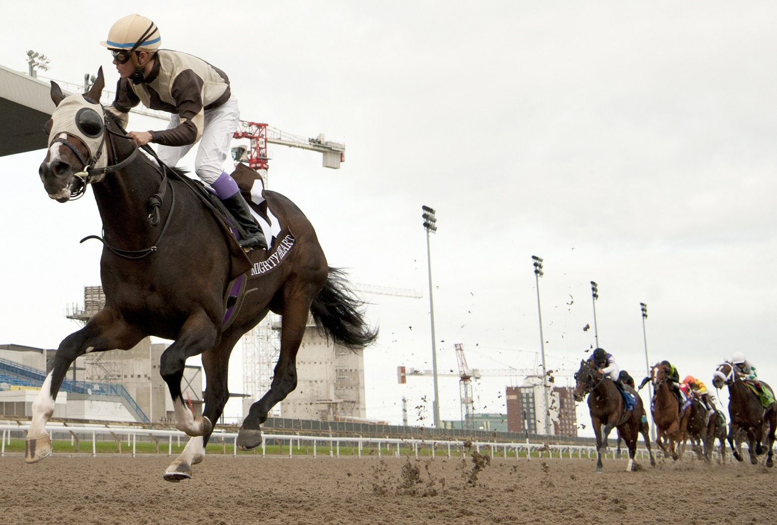 Mighty Heart leading the race for the 161st Queen's Plate at woodbine racetrack