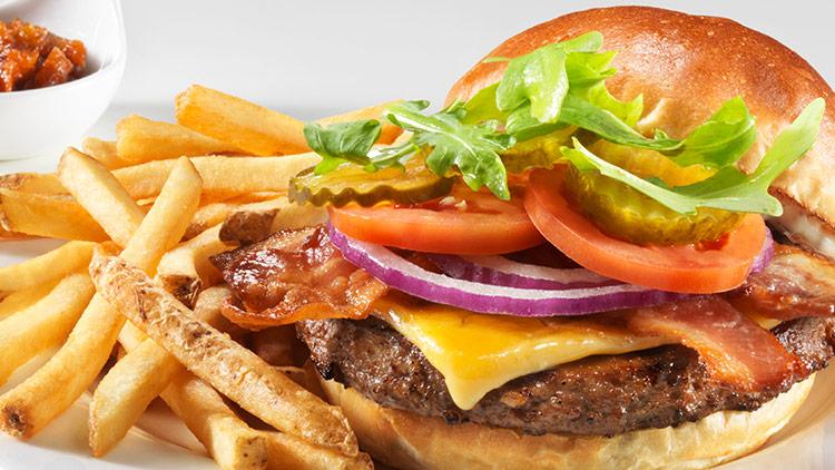 Burger served at Mohawk Harvest Kitchen at Woodbine Mohawk Park