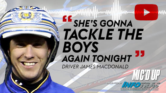 """She's gonna tackle the boys again tonight"". Driver James MacDonald doing the Mic'd Up session on November 5, 2020"