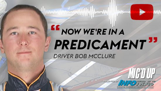 """Now we're in a predicament"". Driver Bob Mcclure doing the Mic'd Up session on Feb 25, 2021"
