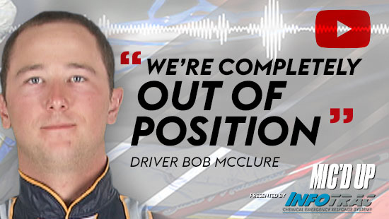"""We're completely out of position"". Driver Bob Mcclure doing the Mic'd Up session on March 11, 2021"