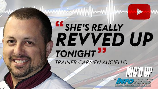 """She's really revved up tonight"". Trainer Carmen Auciello doing the Mic'd Up session on March 25, 2021"