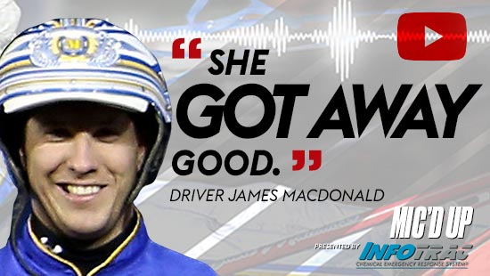 """""""She got away good"""". Driver James MacDonald at Mic'd Up presented by Infotrac."""
