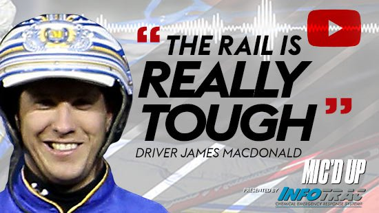 """""""The rail is really tough"""". Driver James MacDonald at Mic'd Up session presented by Infotrac."""