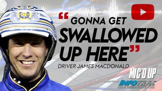 """""""Gonna get wallowed up here"""". Driver James MacDonald at Mic'd Up session presented by Infotrac."""