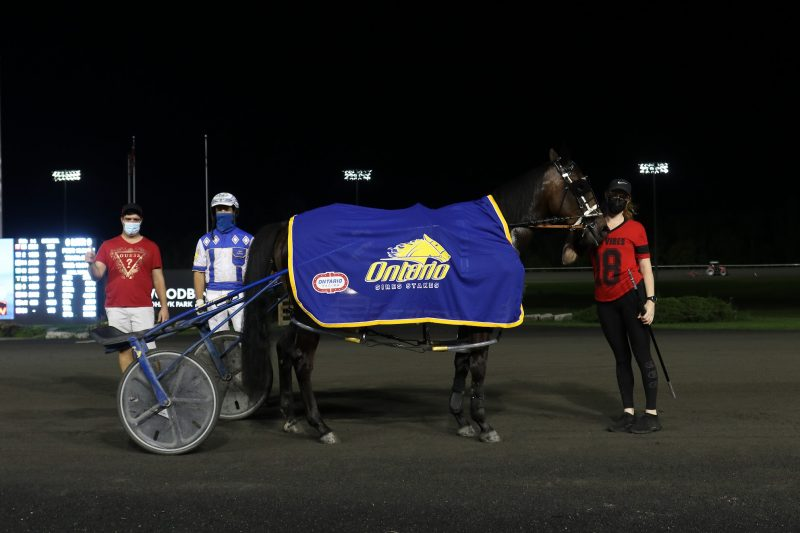 Nick Gallucci (left) enjoyed a stellar Tuesday evening, sending out OSS Gold winner Silver Label and Prohibition Legal (pictured). James MacDonald steered both fillies for Gallucci and Millar Farms.