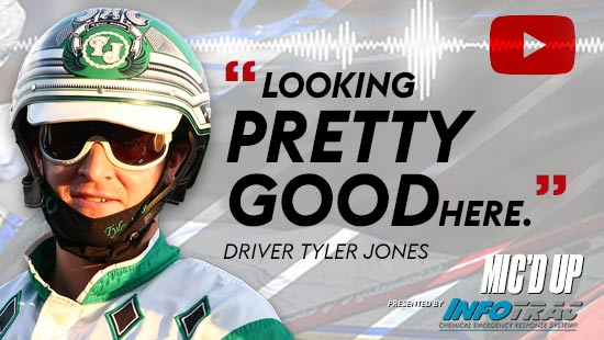 """""""Looking pretty good here"""". Driver Tyler Jones at Mic'd Up session presented by Infotrac."""