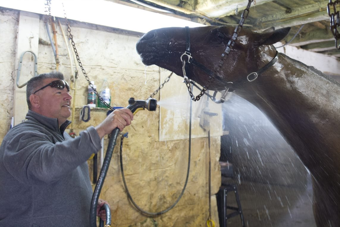 Ken Middleton, hoses down his Metro Pace hopeful, Bob Loblaw, after a training session on September 23rd. (Michael Burns Photo)