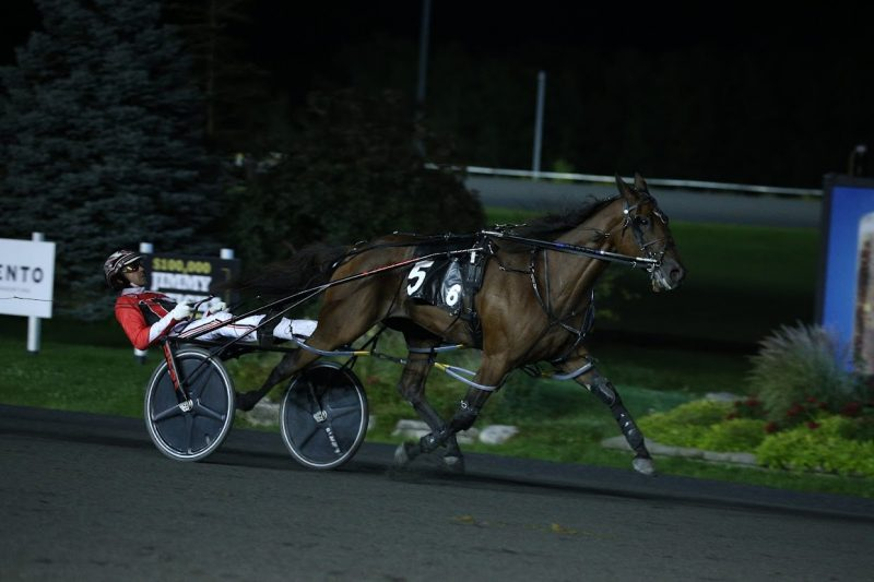 Niki Hill wins the Shes A Great Lady stake with Dexter Dunn at Woodbine Mohawk Park on September 25, 2021. (New Image Media)