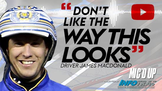 """""""Don't like the way this looks"""". Driver James MacDonald at Mic'd Up session presented by Infotrac."""