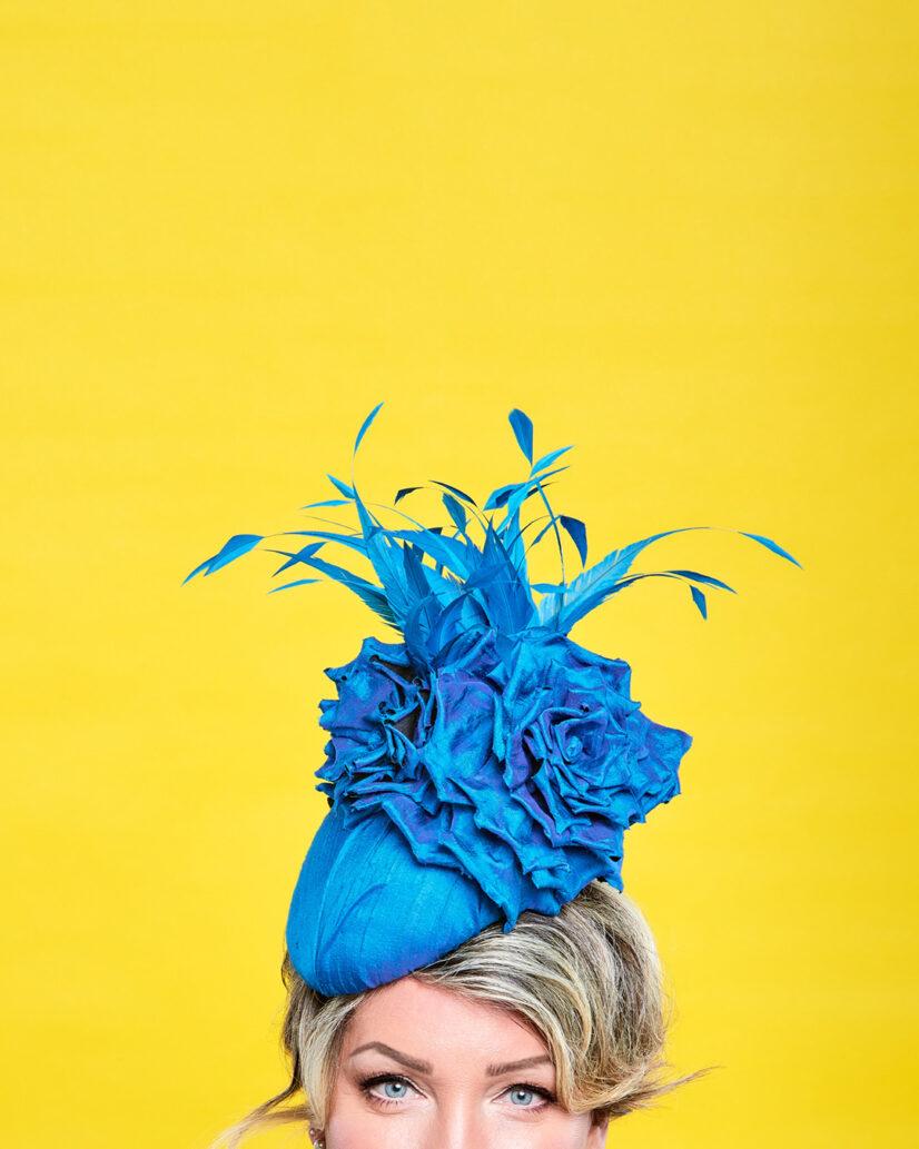 David Dunkley Fine Millinery Blue Silk Fascinator Hat Shop Toronto Custom Queens Plate 2021