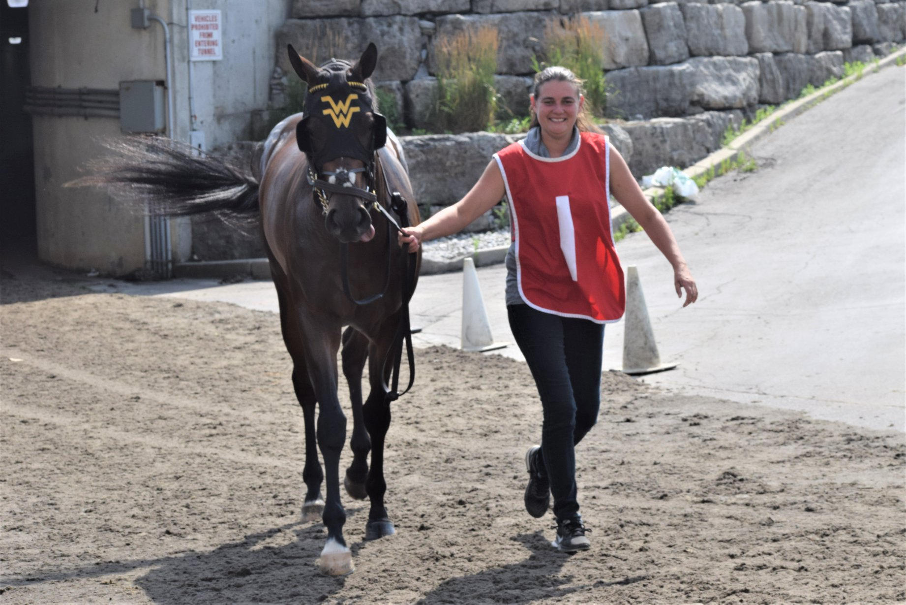 Crystal Todd holding a brown horse on a tapita racetrack.