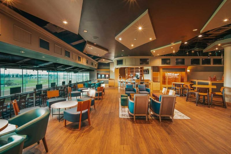 Finish Line O&T Lounge for Owners and Trainers with different seating options