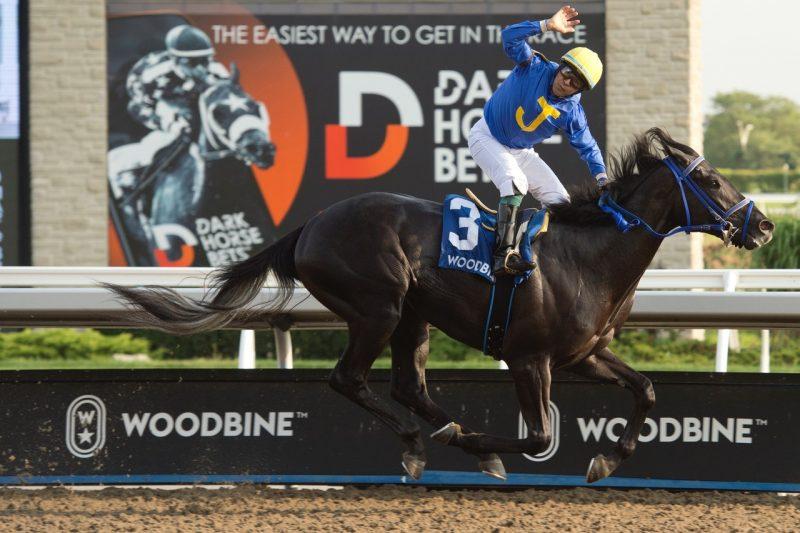 Ironstone and Ademar Santos winning Sunday's Simcoe Stakes.