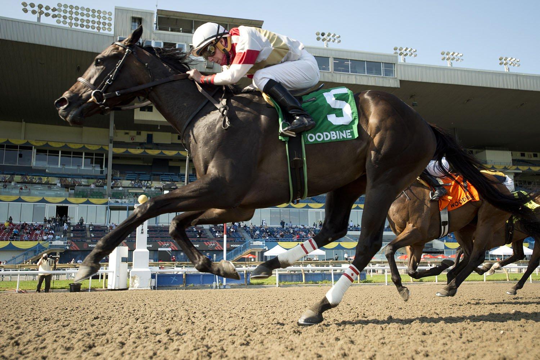 Lorena and jockey Gary Boulanger winning the $125,000 Fury Stakes on Saturday, July 10 at Woodbine Racetrack. (Michael Burns Photo)