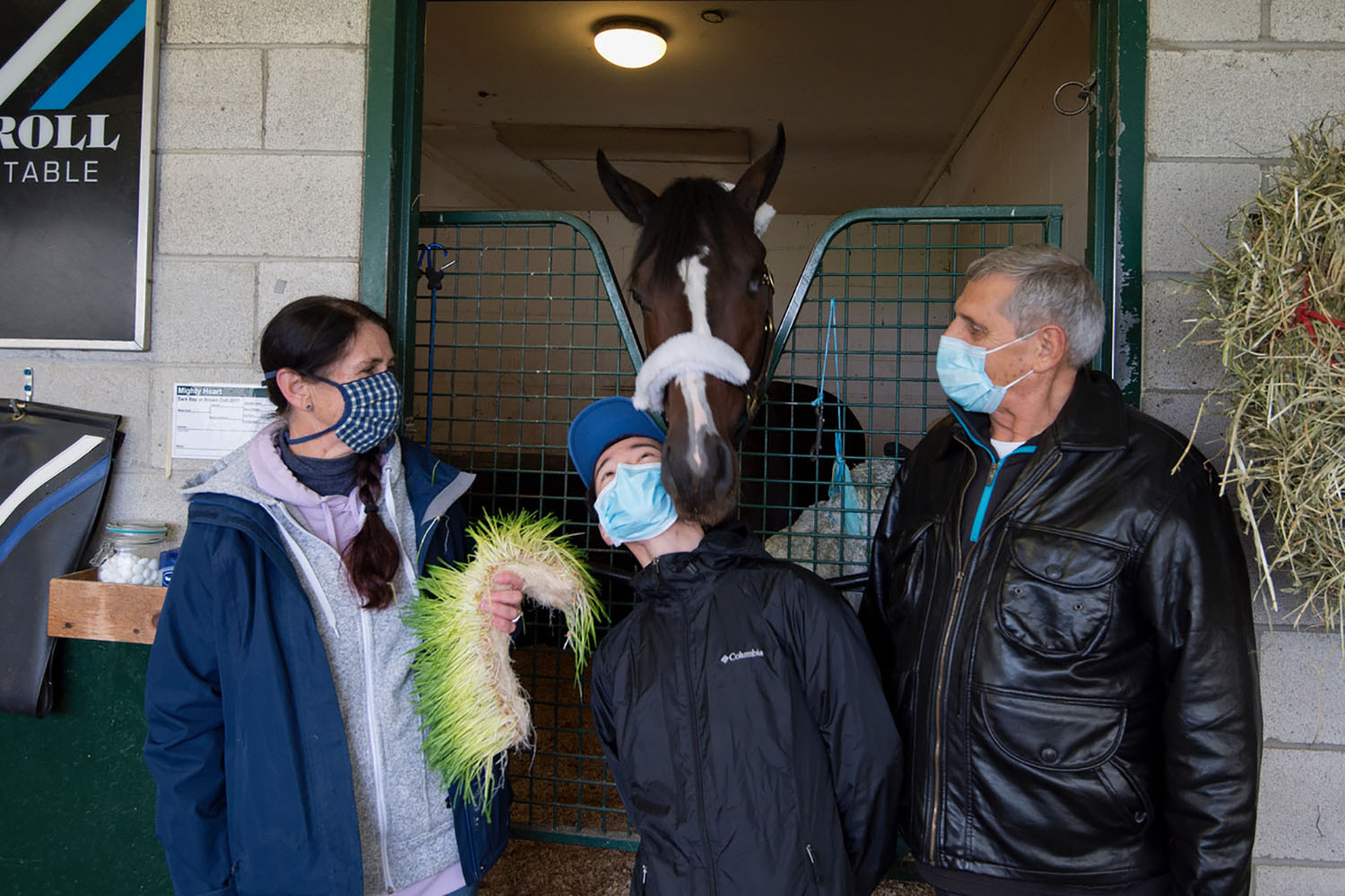OLG Canadian Triple Crown contender Mighty Heart with trainer Josie Carroll, jockey Daisuke Fukumoto and owner/breeder Lawrence Cordes. (Michael Burns Photos)