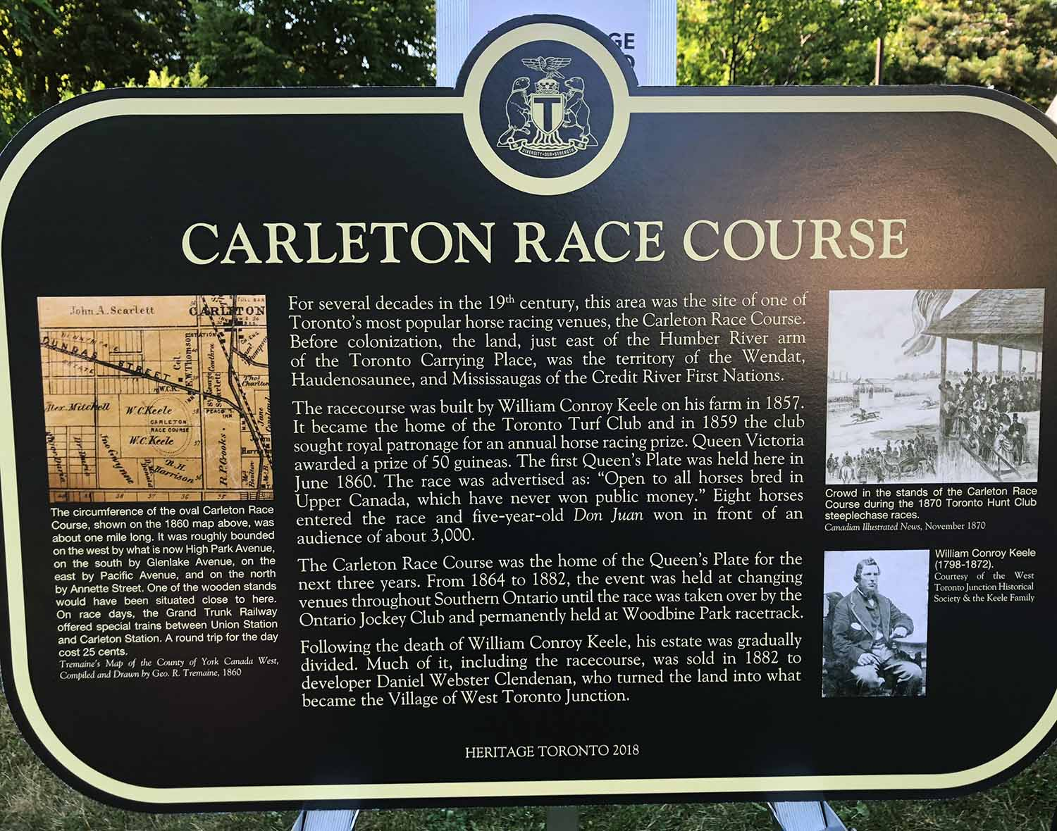 The historic plaque honouring Carleton Race Course (Emily Mallin Photo)